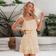 Simplee Summer sleeveless sexy dress Ruffled solid plaid sash cotton holiday dress Ladies holiday beach party sundress vestidos