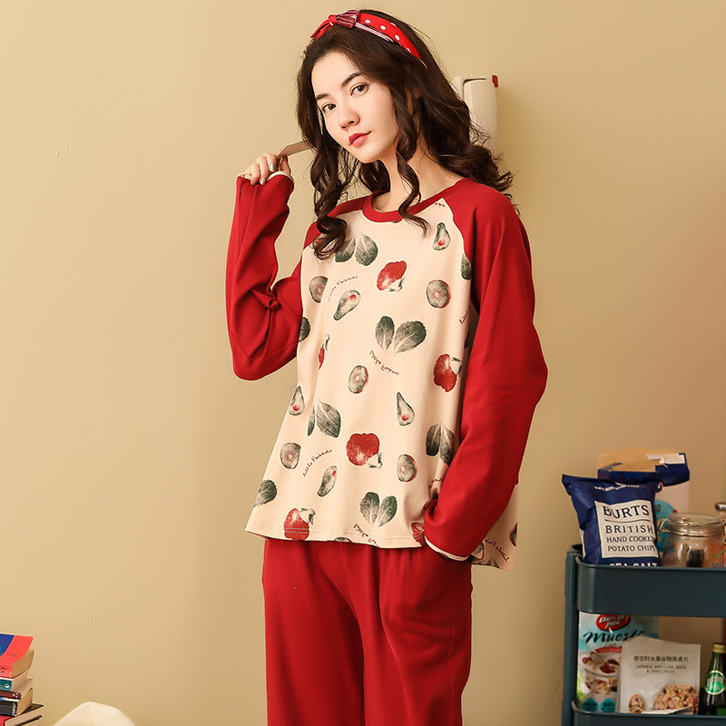 Women Pajamas Sets Spring Autumn Long Sleeve Print Cute Cotton Sleepwear Big Girl Pijamas Mujer Leisure Student Pajama Tracksuit 36