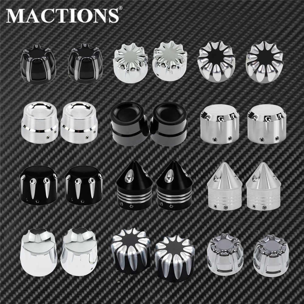 Cubiertas para tuercas de eje delantero de 2x motocicletas, tapas de aluminio negro/cromo para Harley Sportster Touring Softail Dyna VRSC Fat Bob, deslizamiento ancho