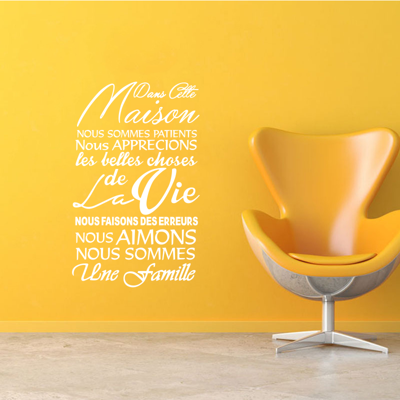 Francuska zdejmowana naklejka na ścianę winylową Dans Cette Maison - Wystrój domu - Zdjęcie 3