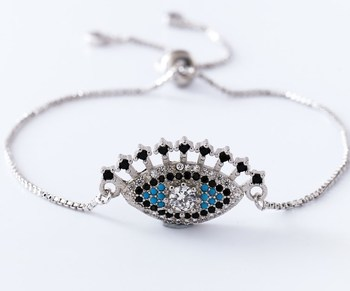 gold silver Chain micro pave cz Zircon Cubic Zirconia bracelet rope adjusted Macrame Eyelash eye Bangle ur3 Fashion women image