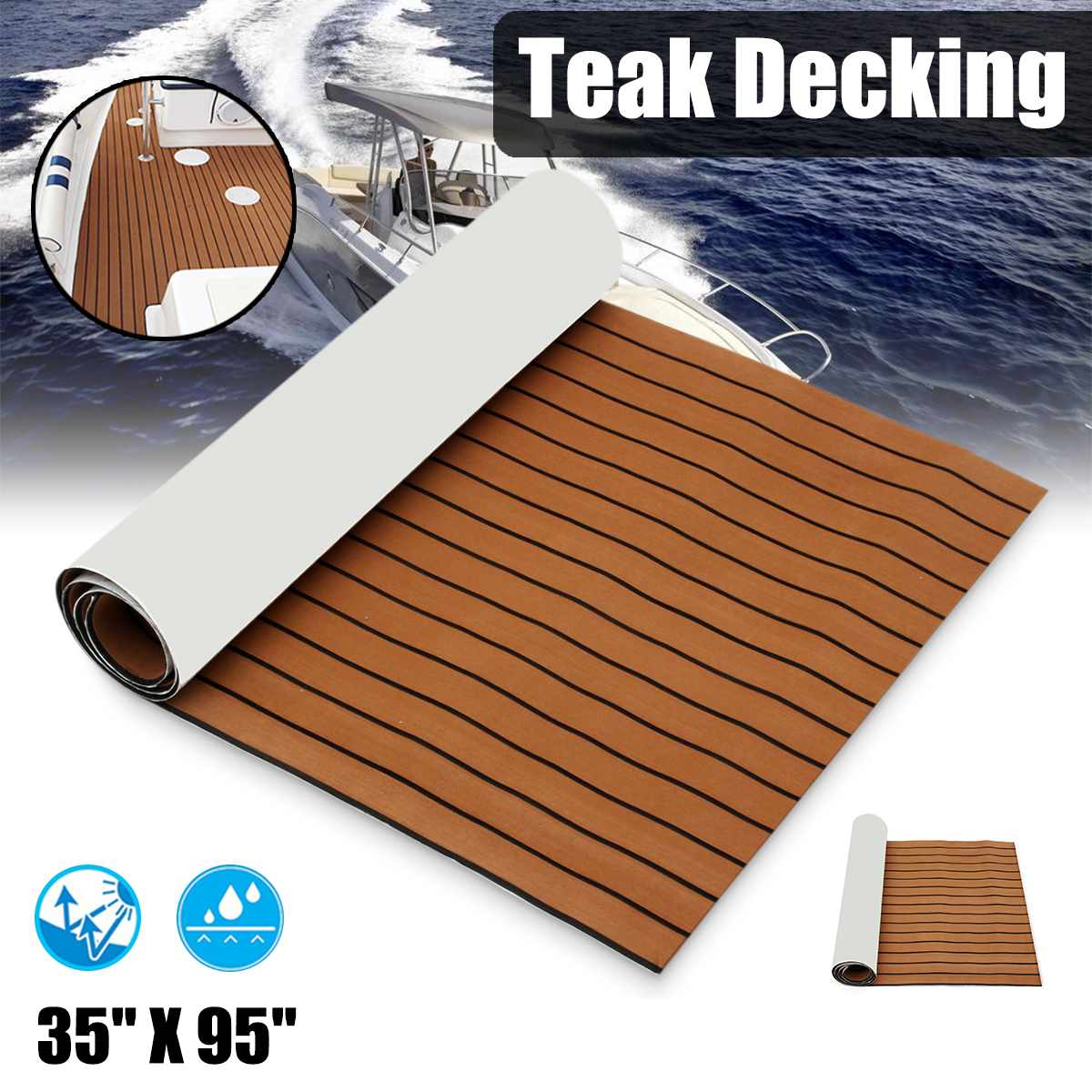 2400x900x5mm Self-Adhesive Foam Teak Decking EVA Foam Marine Flooring Faux Boat Decking Sheet Accessories Marine 3 Styles