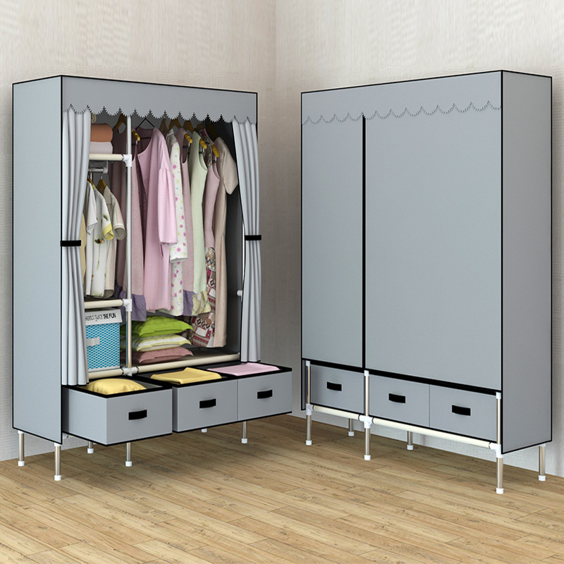New Luxury 3 Drawers DIY Non-woven Folding Portable Wardrobe Bedroom Furniture Bedroom Storage Cabinet