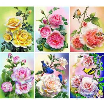 AZQSD Diamond Painting Rose Cross Stitch Art Flower Home Decor Gift Embroidery Sale Full Square Handmade Rhinestones