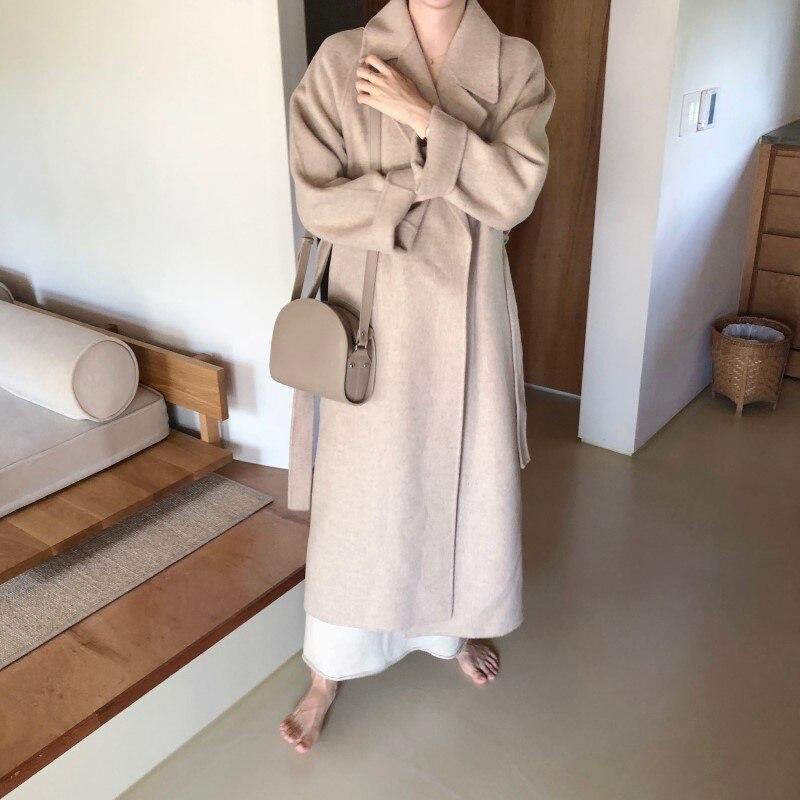 19 Winter Oversize Long Trench Coat Women Cashmere Coat Korean Lady Windbreaker Outwear Streetwear 100