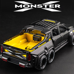 Diecast 1:28 duży prawie prawdziwy Model samochodu pick-up truck dźwięk miga maszyny wycofać koła metalowe samochodzik-zabawka ze stopu metali dla dzieci prezent