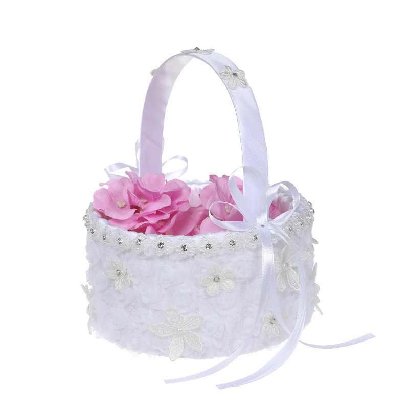 ลูกไม้ดอกไม้และโบว์ริบบิ้นสีขาวตกแต่งตะกร้าสาวดอกไม้กลีบช่อดอกไม้สำหรับงานแต่งงานตกแต่ง