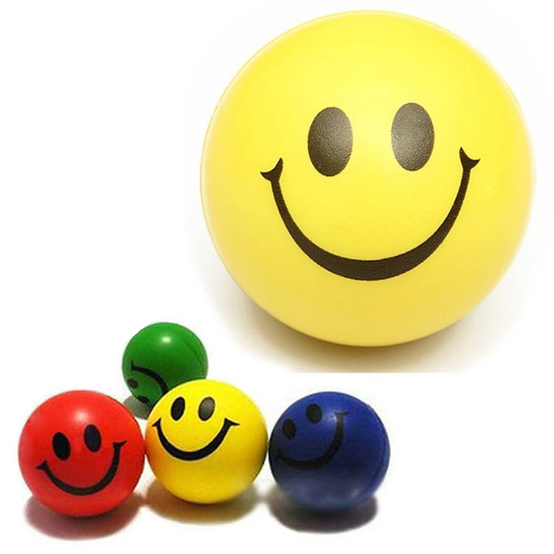 3 X Stressball Anti-Stress Ball Crunch Ball Relax Ball Handtrainer Finger Trainer Smiley Face Relief Squeeze Ball Happy Face Fun