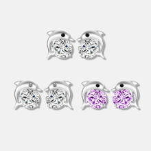 Cute Romantic Dolphin Love Stud Earrings For Women High Quality 925 Jewelry Silver Plated Round Cut Earring 4pcs cute enamel round dolphin earring