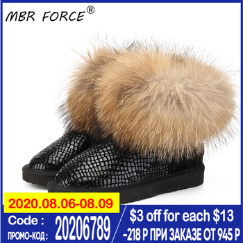 MBR FORCE Women natural real fox fur snow boots fashion boots for women high quality genuine cow leather winter Ankle boots top fashion 2018 real wool botas mujer high quality genuine sheepskin leather snow boots natural fur waterproof women shoes