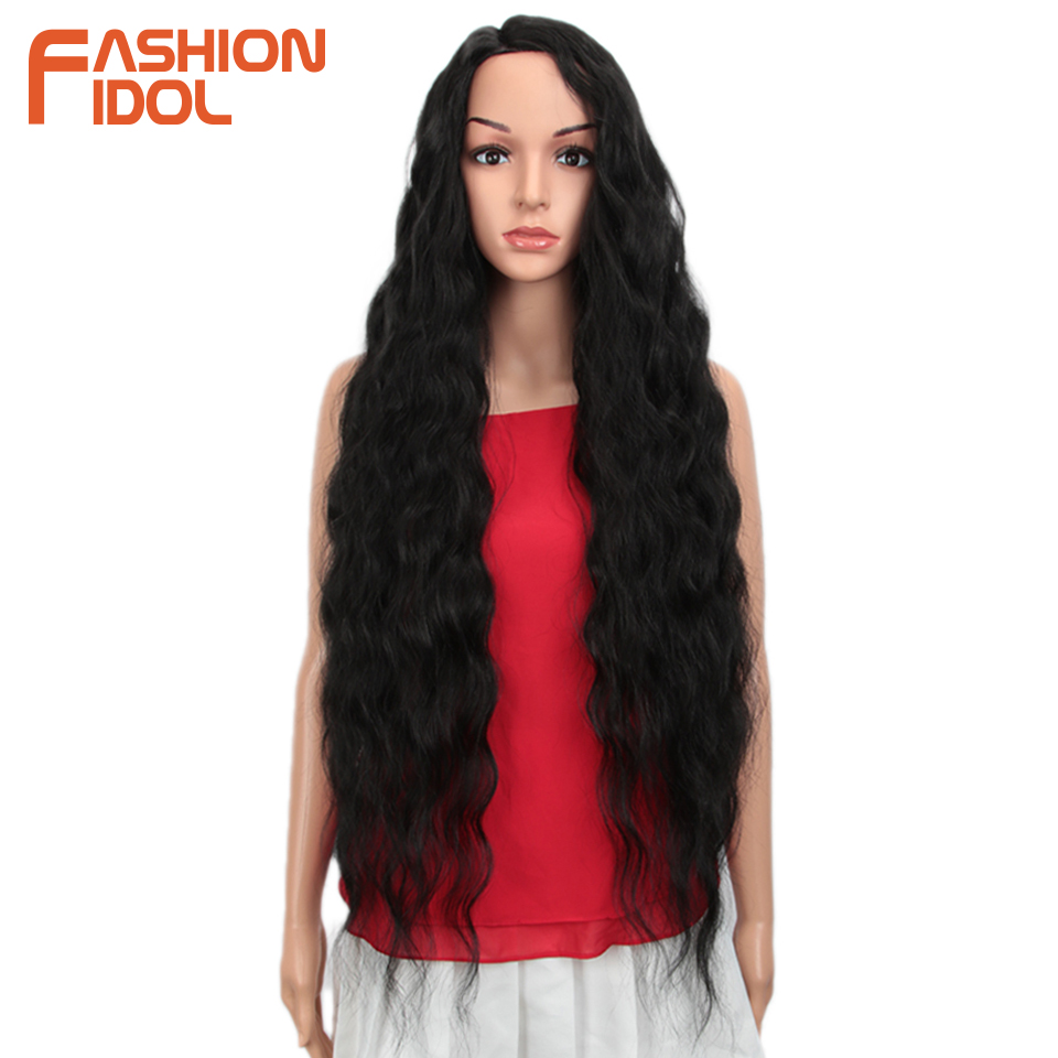 FASHION IDOL Hair Synthetic Wig Loose Wave Black 38 Inch Ombre Blonde Deep Wave Super Long Wavy Synthetic Wigs For Black Women
