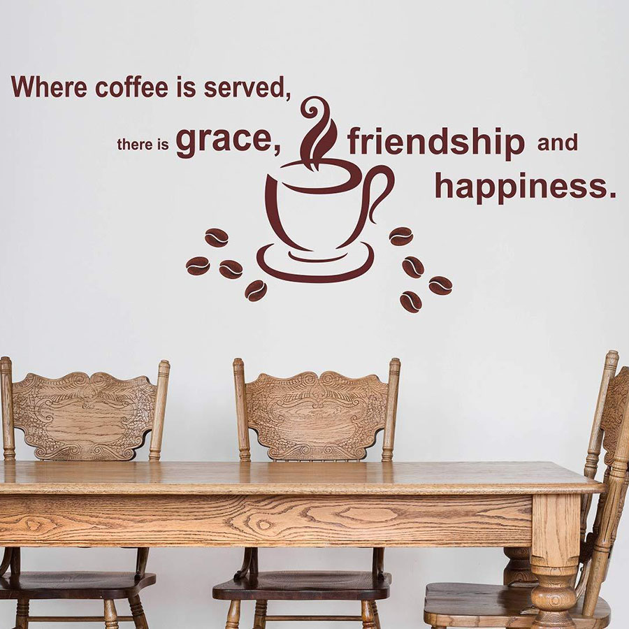 Coffee With Quotes Wall Sticker Friendship Happiness Words Art Vinyl Decal Cafe Coffee Shop Interior Decor Lettering Mural M738 image
