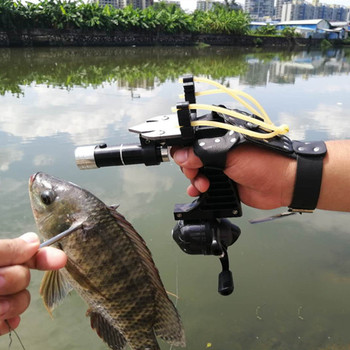 New Fishing Set Slingshot Hunting Catapult Suit Outdoor Shooting Fishing Reel + Darts Protective Gloves Flashlight Tools 2
