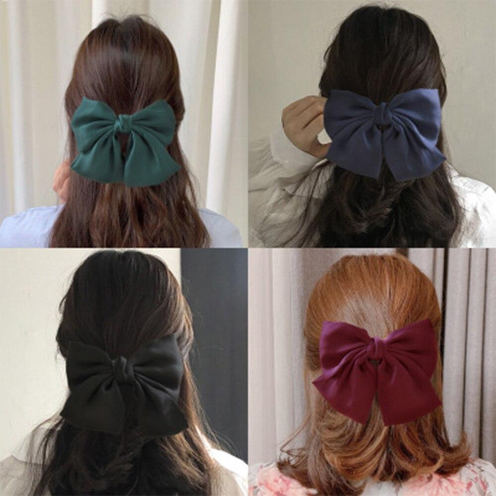 Korean Big Silk Hair Bow Satin Fabric Spring Hairpin Two Layers Automatic Hair Clip Sweet Retro Hair Tie Woman Hair Accessories