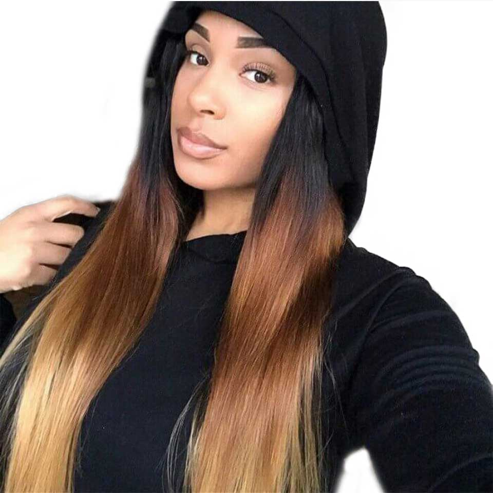 Ombre Straight Hair Bundles With Closure Remy Human Hair 3 Bundles With Closure Honey Blonde Brazilian Hair Weave Bundles SAYME