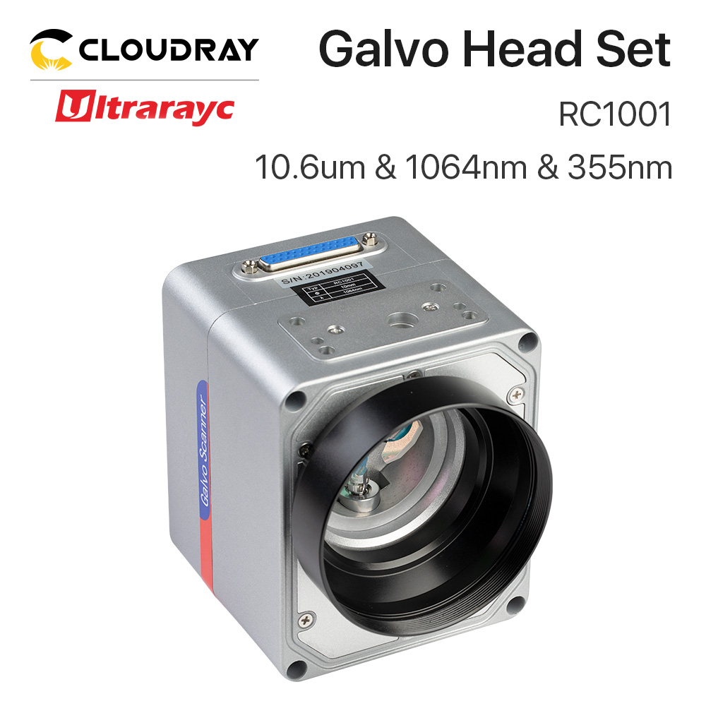 Ultrarayc RC1001 Scanning Galvo Head Set 10mm Galvanometer Scanner 10.6um &1064nm & 355nm with Power Supply for Fiber Marking