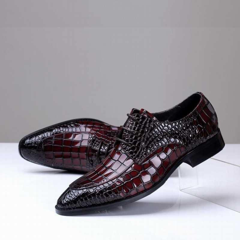 מותג Mens נעליים רשמיות עור אמיתי נעלי אוקספורד עסקי מאן הנעלה הבוהן מחודדת בריטי יין אדום נעלי חתונה שמלה