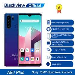 Blackview A80 плюс мобильный телефон, четыре ядра, 4 Гб Оперативная память + 64 Гб Встроенная память 13MP Quad сзади Камера 6,49 дюймов в виде капли воды, см...