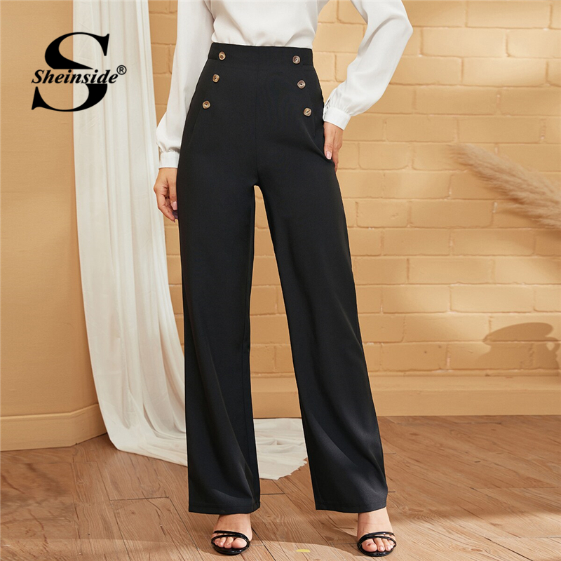 Sheinside Elegant Black Double Breasted Straight Leg Pants Women 2019 Autumn High Waist Long Trousers Ladies Solid Pants