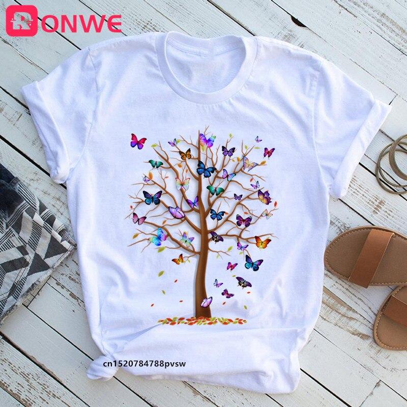 3D kelebek ağacı baskı kadın T-shirt yaz rahat 90s Harajuku komik Tshirt kadın yumuşak kısa kollu üstleri, damla nakliye
