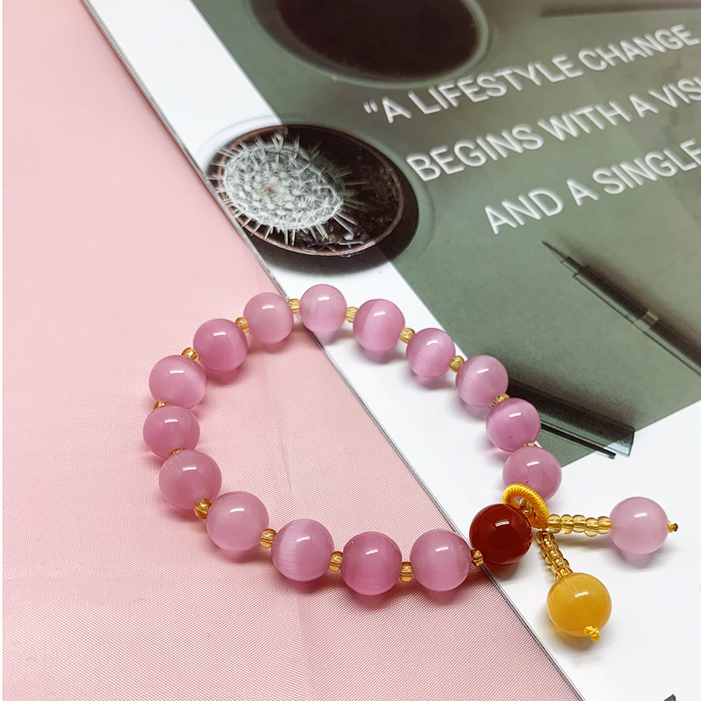 Beaded Bracelets Jewelry Natural-Stone Charm Handmade Pink Crystal Wholesale Women Round