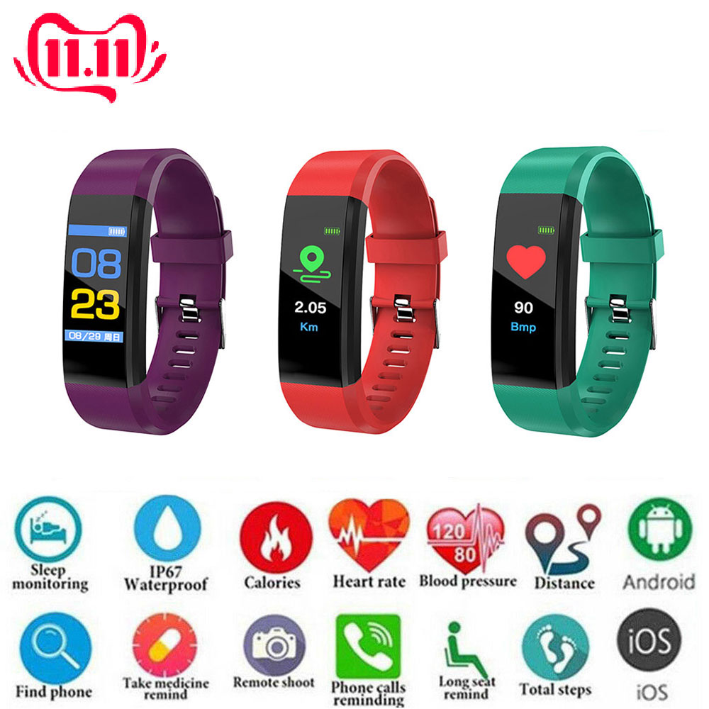 Fashion Sports Fitness Smart Watch Band Smart Sleep Heart Rate Blood Pressure Bracelet Tracker Smartwatch For Women Men 5 Colors