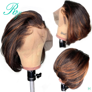 13X4 150% Highlight Ombre Color Closure Wig Short Bob Cut Blunt Pixie Lace Front Human Hair Wigs For Black Women Brazilian Remy(China)