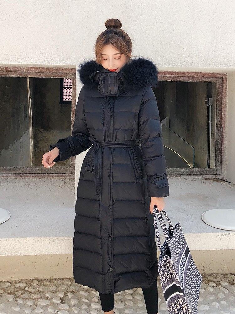 Fashion Winter Down Jacket Women Large Fur Hood Korean Fit Down Coat Female Long Parka Ladies Elegant Outwear Hiver 19003