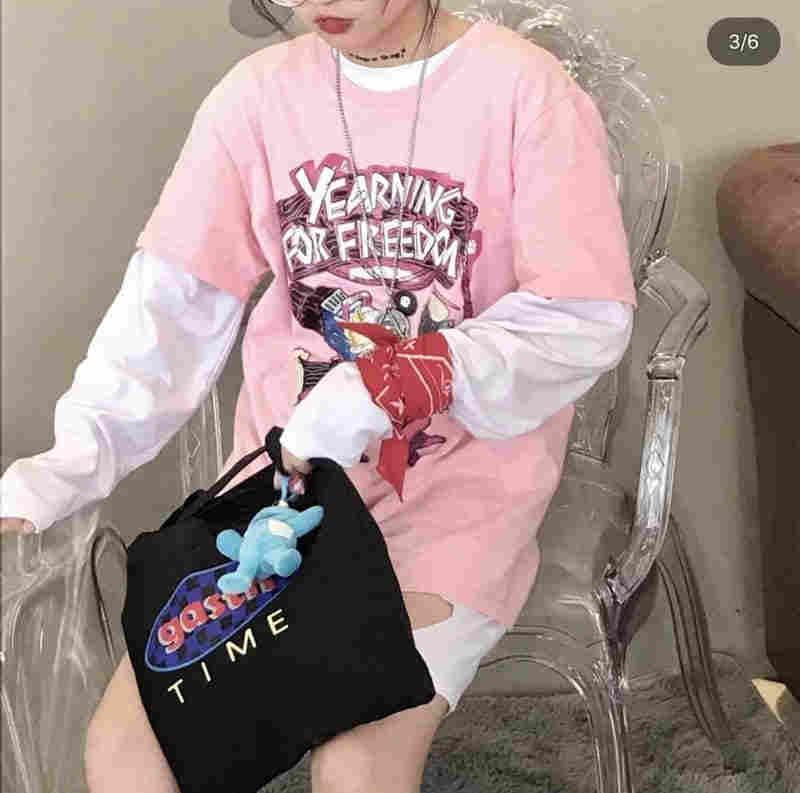 Nicemix Hip-Hop Harajuku Ulzzang Jalan Skateboarding T Shirt Kaos Wanita Merah Muda Lengan Pendek O-leher Atasan Grafis Wanita