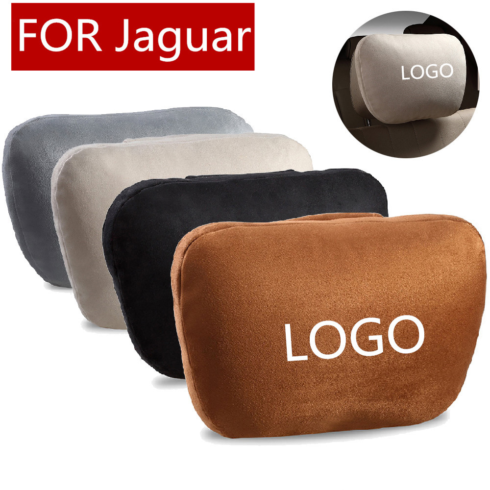 Super Soft Suede Cover Car Headrest Neck Support Pillow Seat Cushion For Jaguar Logo XE XJ XJL XF C-X16 V12 Guitar F X Typ