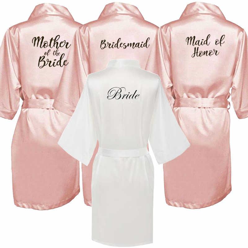 Baru Bride Bridesmaid Jubah Putih Hitam Huruf Ibu Suster Mempelai Wanita Pernikahan Hadiah Jubah Mandi Kimono Satin Jubah