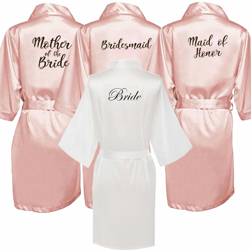 new bride bridesmaid robe with white black letters mother sister of the bride wedding gift bathrobe kimono satin robes(China)