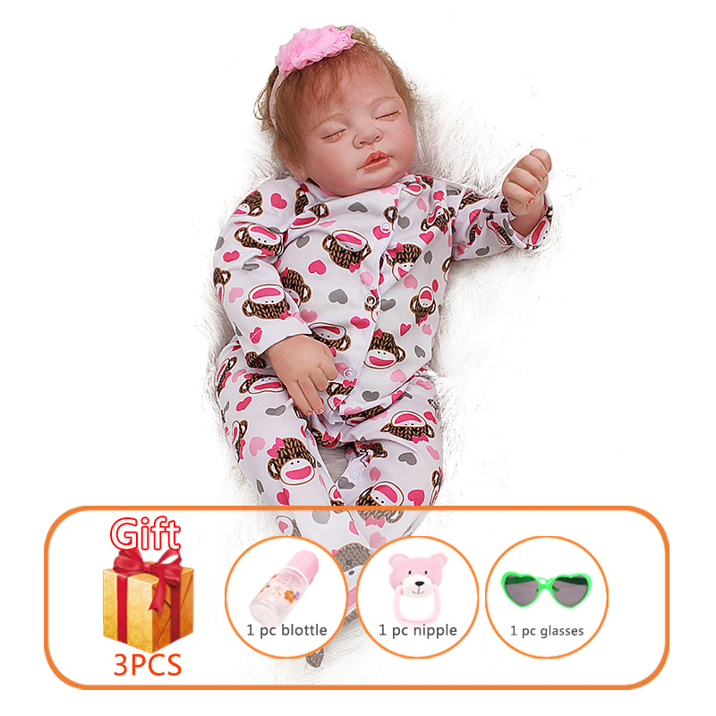Reborn Baby Doll 22 Inch Soft Silicon Newborn Reborn Dolls Toddlers Realistic Sleeping Doll Toys For