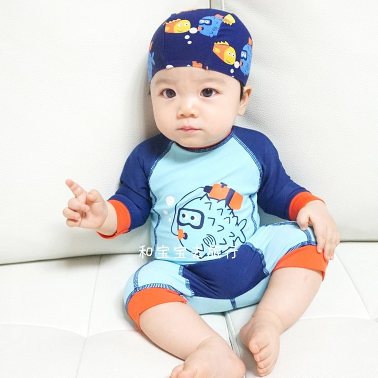 KID'S Swimwear BOY'S Small CHILDREN'S One-piece Boy Cute Baby Hot Springs Sun-resistant Warm Tour Bathing Suit One-piece Swimmin
