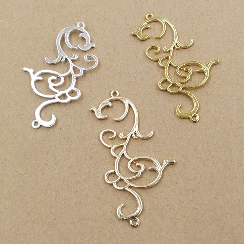 Hollow Metal Flower Branch Pendant Embellishments Charms Connectors DIY For Pendant & Earrings Supplies Jewelry Accessories
