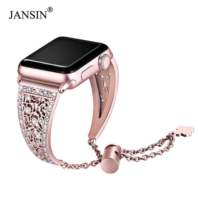 JANSIN נשים להקת יהלומים עבור אפל שעון סדרת 5/4/3/2 צמיד נירוסטה רצועת עבור iWatch 38mm 42mm 40mm 44mm צמיד