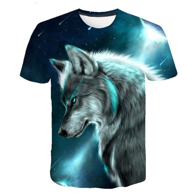 Camiseta de verano para hombre, camiseta de manga corta con cuello redondo para hombre, divertida ropa de Animal para hombre, camiseta informal con estampado de lobo en 3D