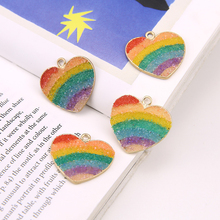 2019 korean style imitation ore rainbow color heart-shaped pendant alloy statement earrings for women diy jewelry accessories