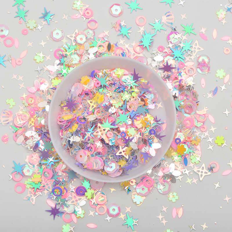 JUNAO 10g ผสมสีขนาด Korea Glitter Sequins Flakes Paillette ตกแต่งเล็บหน้า PVC Sequins สติกเกอร์สำหรับงานฝีมือ