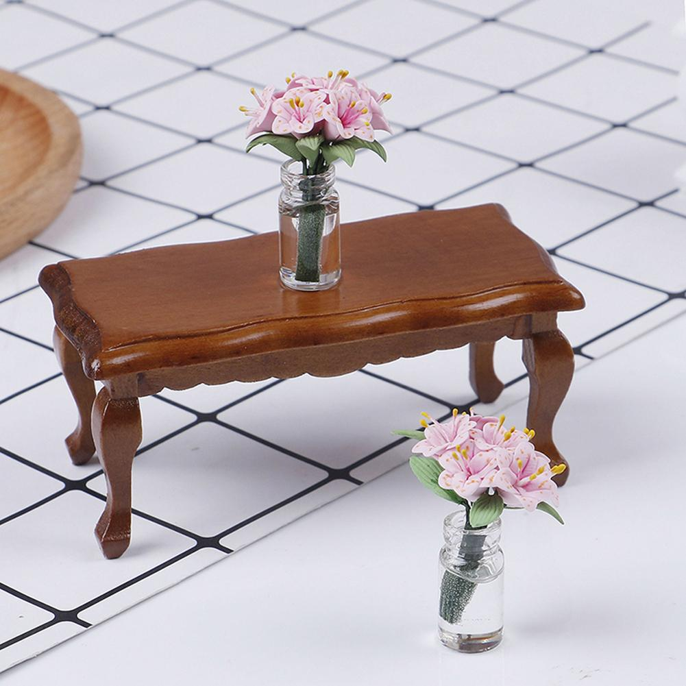 1/12 Doll House Mini Wave-Edged Wooden Tea Table Living Room Furniture Decor Accessory Wood Furniture Set For Dolls