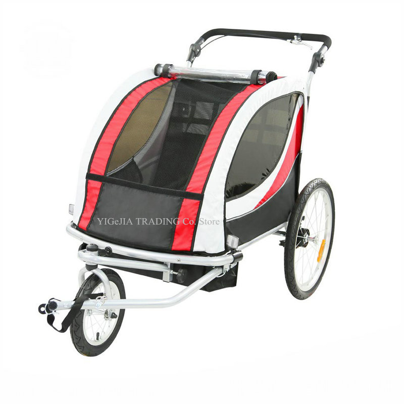 2 in 1 Twins Bicycle Trailer with Rain Cover, Double Seat Kids Wagon, 20inch Big Wheel Bike Trailer, Converts to Stroller/Jogger image