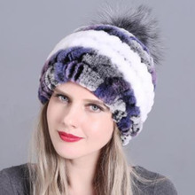 New Women Knitting Real Rex Rabbit Fur Hat 100 Natural Soft Real Rex Rabbit Fur Caps Lady Winter Warm Real Rex Rabbit fur Hats cheap KACCIVEL Fox Fur Office Lady Thick Warm Fur Thick (Winter) Real Fur Knitted H213 Solid