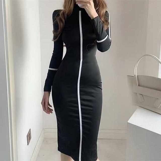 Small high necked long sleeved Kardashian Dress High Waisted 4