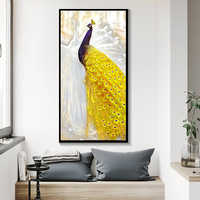 Canvas Paintings Living Room Framework Wall Art Peacock Couple Pictures HD Prints Golden Tail Peafowl Poster Home Decor 11.11
