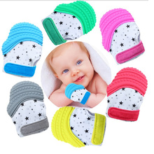 1pcs Baby Mittens Palm Teething Glove Toys Food Silicone Chewable Nursing Teethe