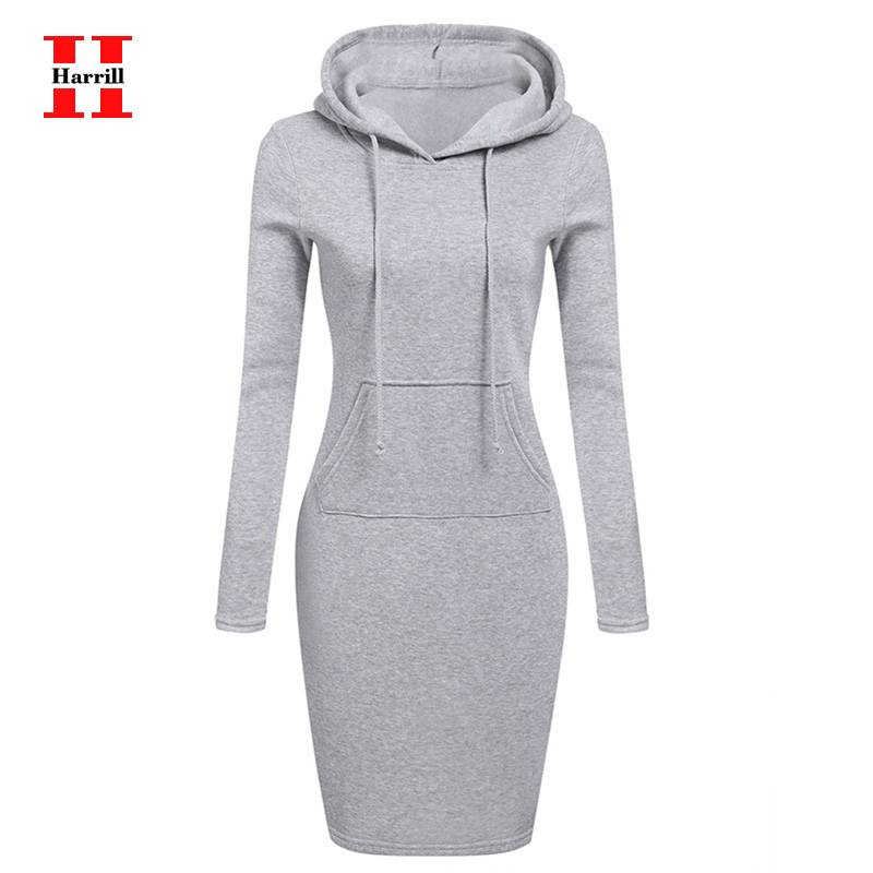 Harrill Spring Autumn Warm Sweatshirt Dress Long-sleeved Woman Clothing Hooded Collar Pocket Design Simple Woman Dress Vestido