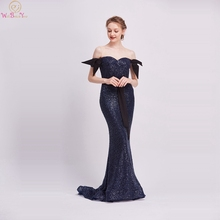 Navy Blue Mermaid Evening Dresses 2019 New Special Style Sheer O-Neck Off The Shoulder Formal Party Long Gowns robe de soiree