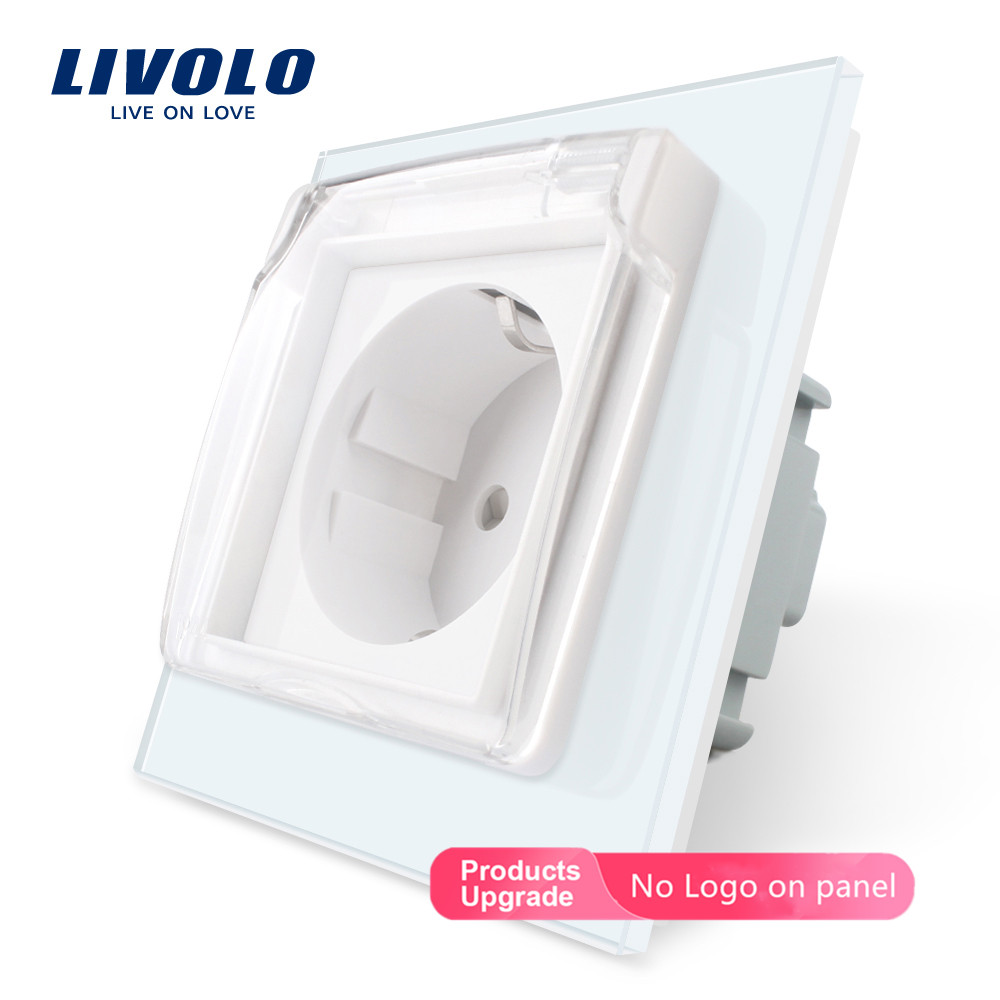 Livolo EU Standard Power Socket, White Glass Panel, AC 110~250V 16A Wall Power Socket With Waterproof Cover C7C1EUWF-11