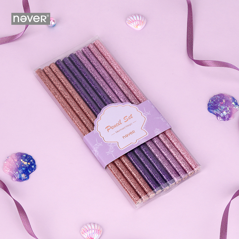 Never Mermaid Series Sequin Lead Pencils For School Pencil Set 10pcs/box HB Writing Pencils Christmas Prize Gift Stationery