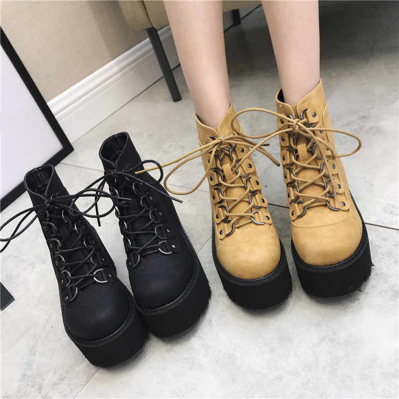 YMECHIC 2019 חורף גותי פאנק צבאי Combat נשים מגפי קרסול תחרה עד פלטפורמת אישה הנעל שחור גותיקה רוק מטפס
